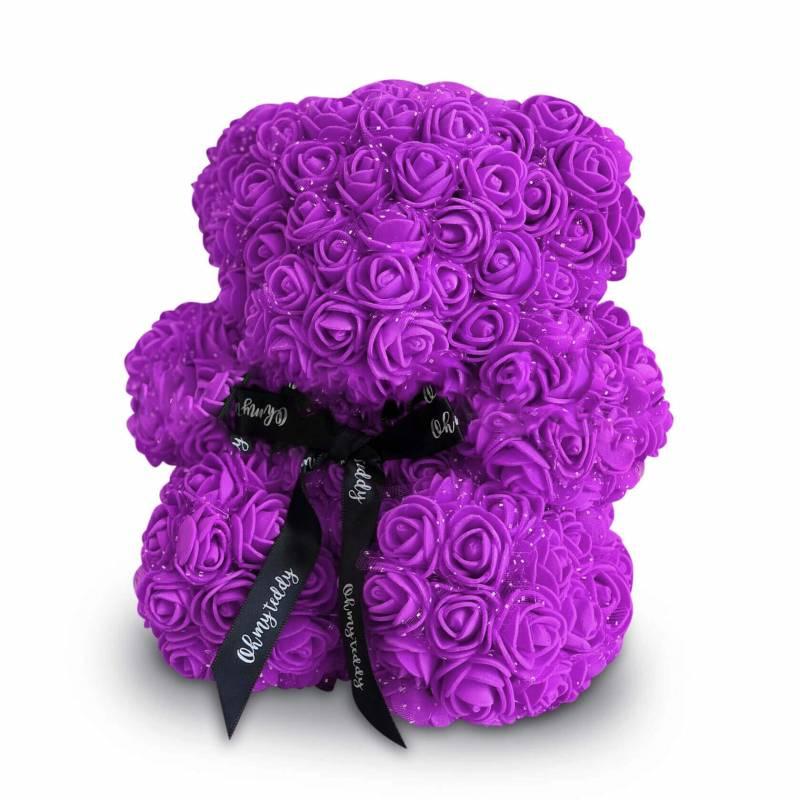 Фиолетовый мишка из роз 20 см.