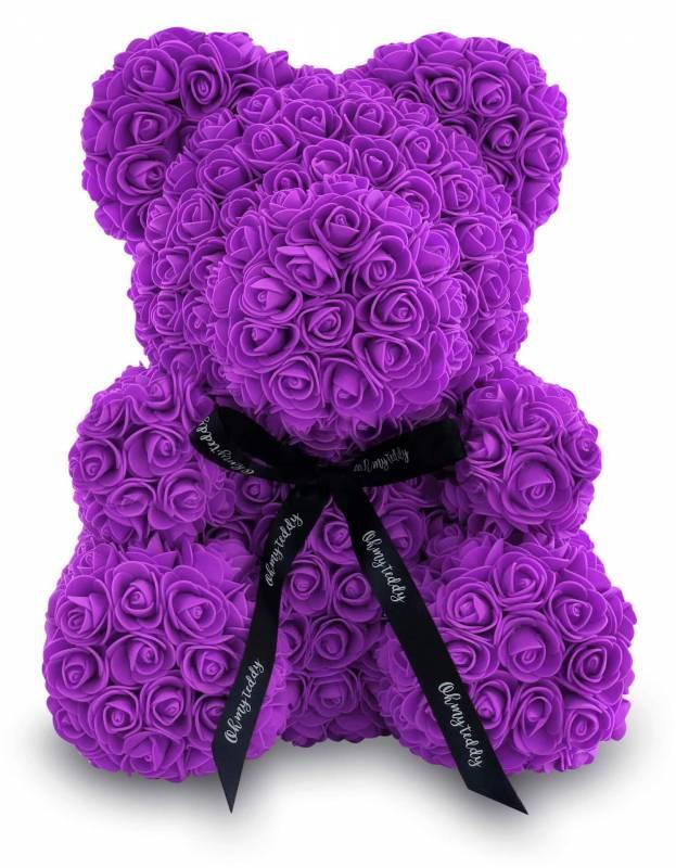 Фиолетовый мишка из роз 40 см.