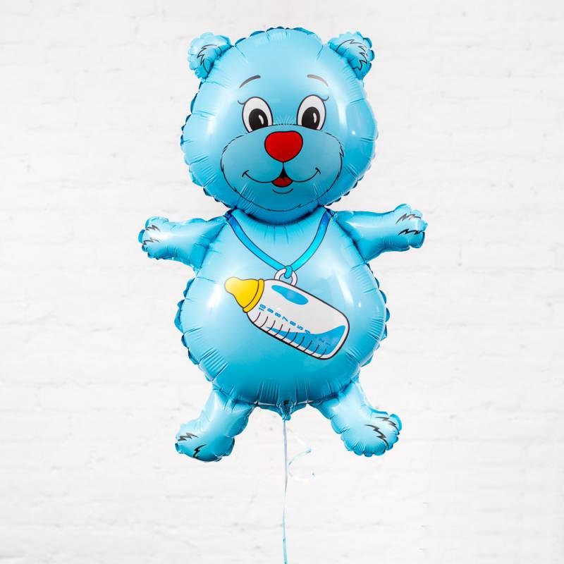 """Фольгированный шар """"Голубой мишка с бутылкой"""""""