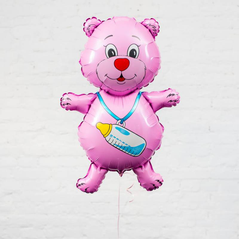 """Фольгированный шар """"Розовый мишка с бутылкой"""""""