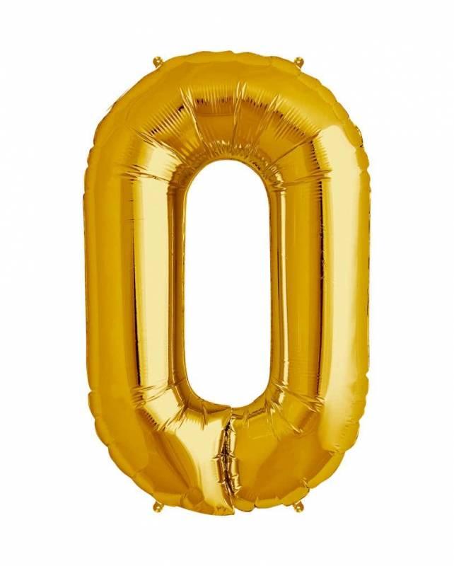 Шар из фольги «Цифра 0 (золото)»