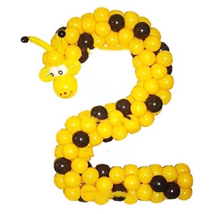 """Цифра, плетённая из шаров """"Жирафик"""""""