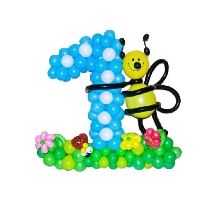"Цифра, плетённая из шаров ""Пчёлка Майя"""