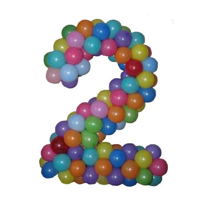 """Цифра, плетённая из шаров """"Разноцветная"""""""