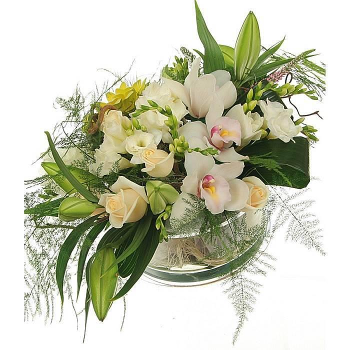 """Букет с орхидеями в стеклянной вазе   """"Французское кино"""""""