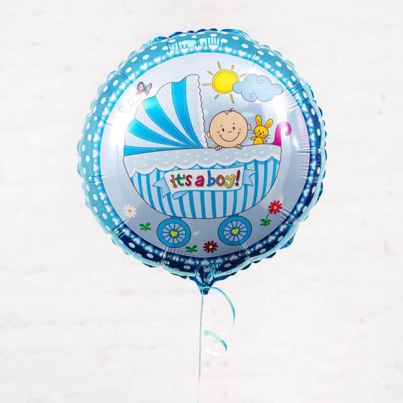 """Голубой фольгированный шар с ребенком в коляске """"It's a Boy"""""""