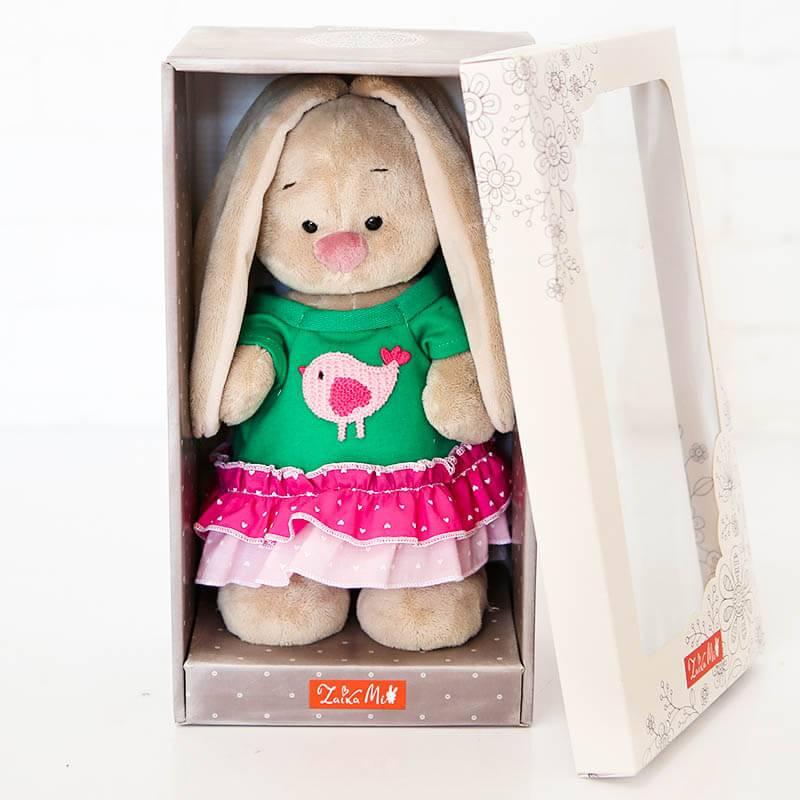 Мягкая игрушка Зайка Ми в платье с птичкой