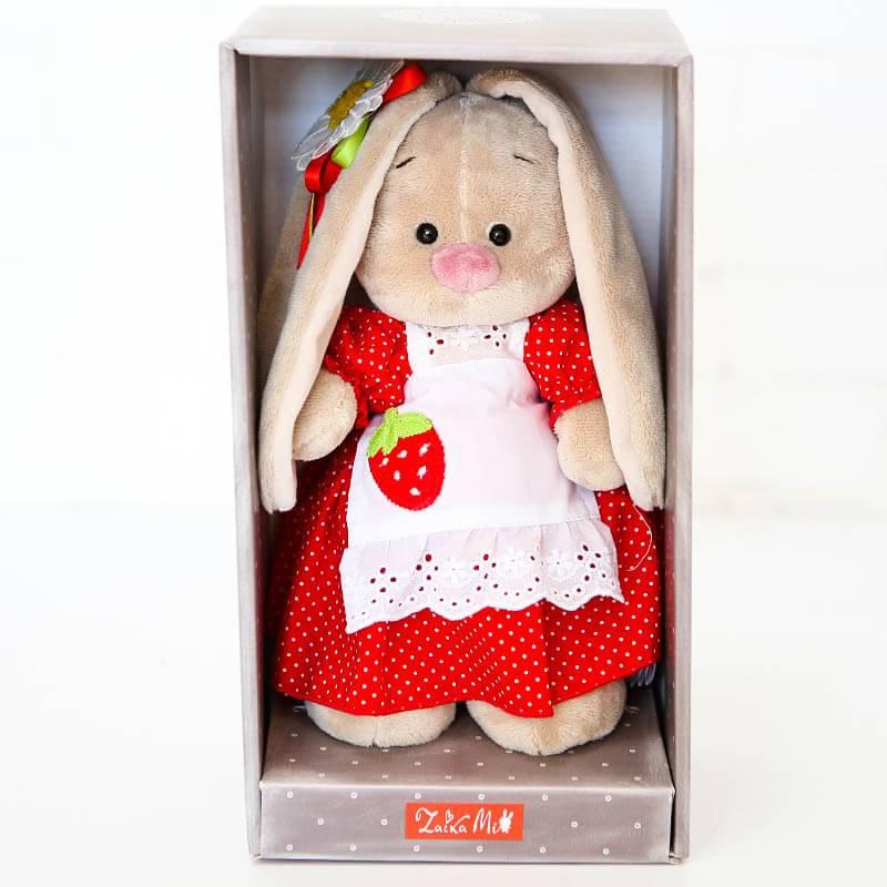 Мягкая игрушка Зайка Ми в платье с земляничкой