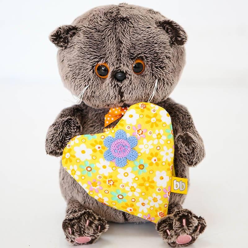 Мягкая игрушка Budi Basa Кот Басик с желтым сердечком