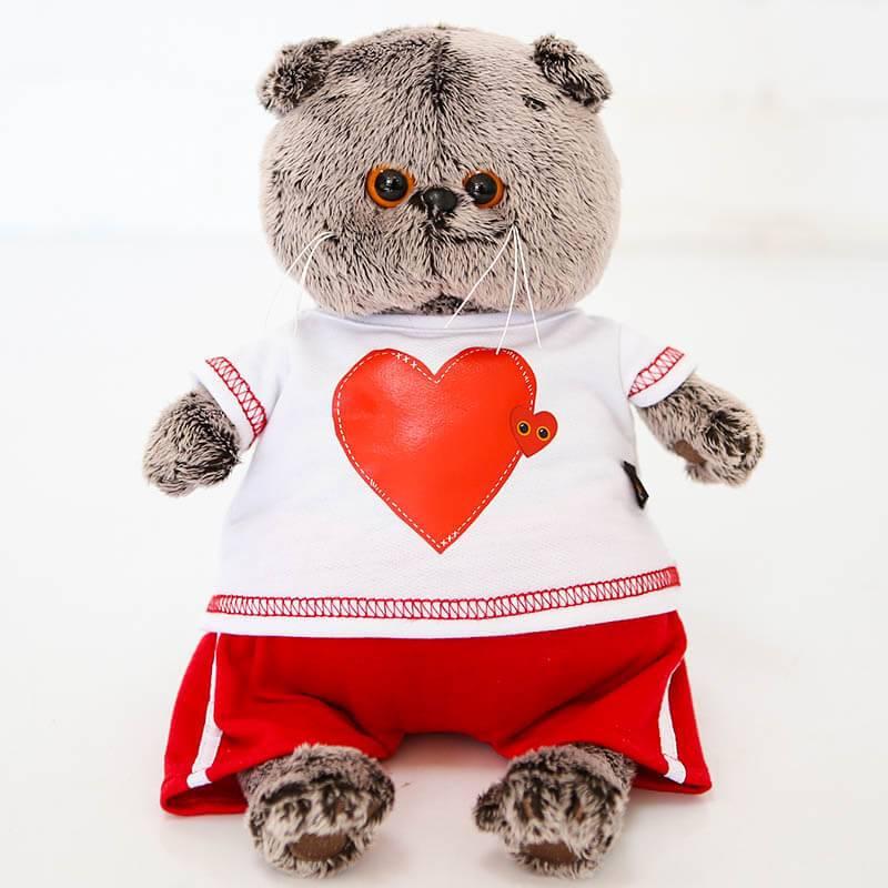 Мягкая игрушка Budi Basa Кот Басик в футболке с сердцем, большой
