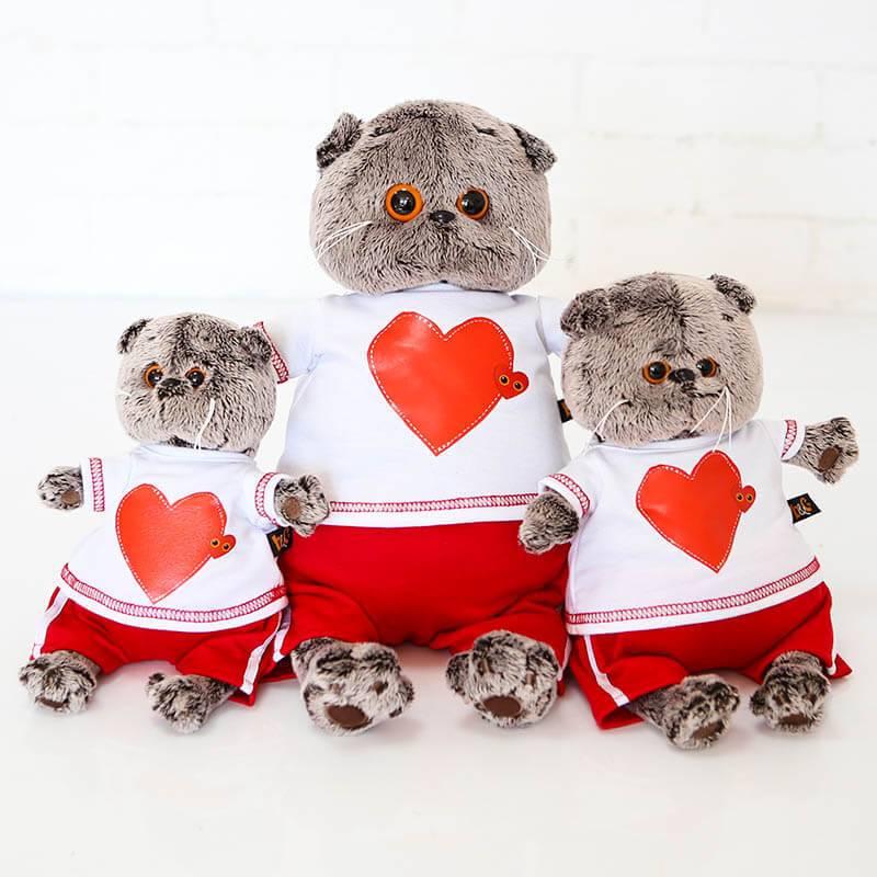 Мягкая игрушка Budi Basa Кот Басик в футболке с сердцем