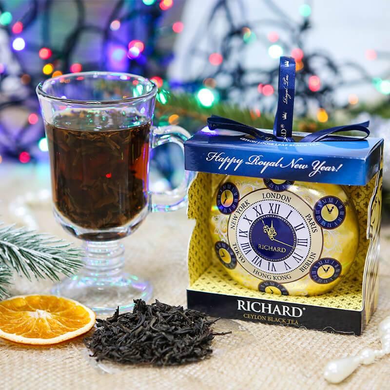 """Чай Richard Ричард """"Новогодний шар"""" Часы. 20 гр. ж/б"""