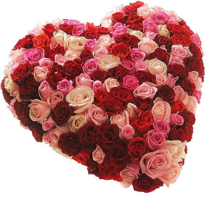 """Композиция из роз в форме сердца """"Нежность и страсть"""""""