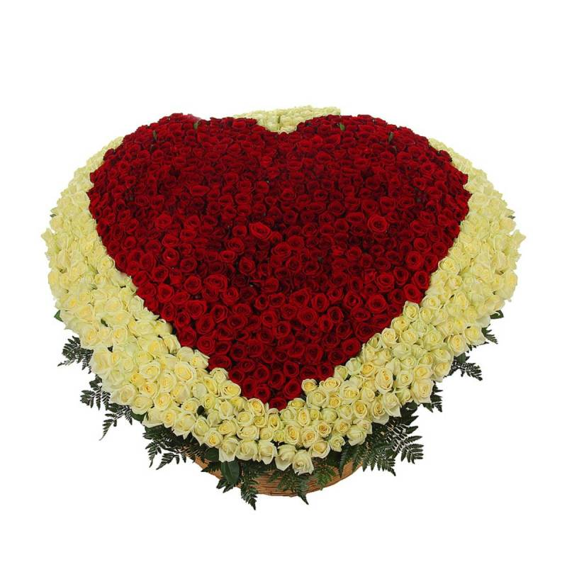 """Композиция из 1001 розы """"Моё сердце - тебе!"""""""