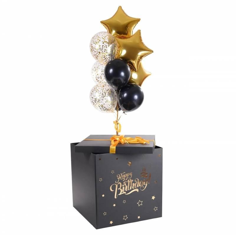 Коробка-сюрприз с золотой надписью Happy Birthday
