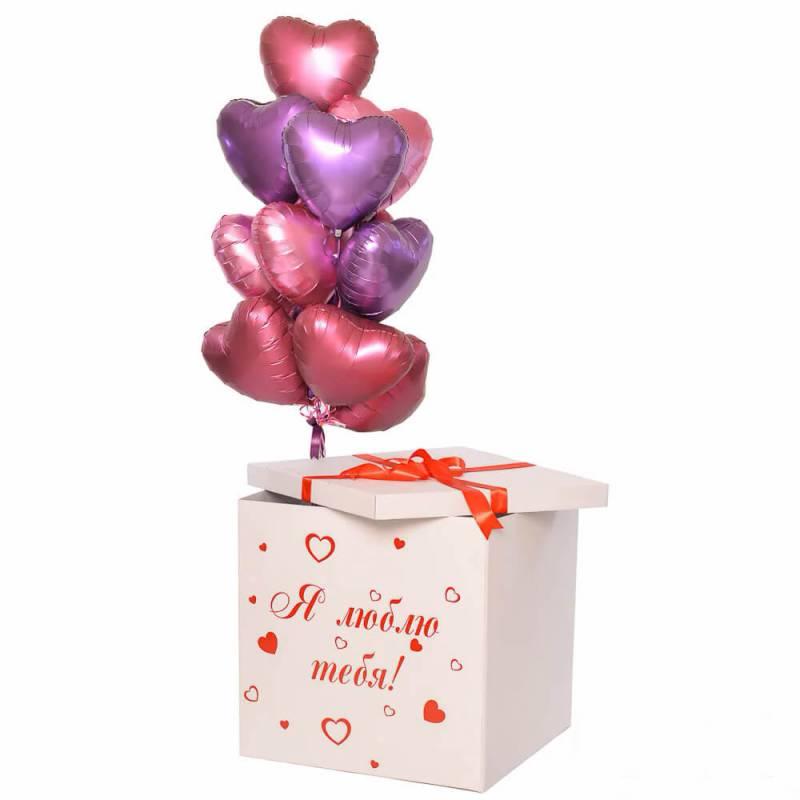 "Коробка сюрприз ""Я тебя люблю"" сатиновые сердца"