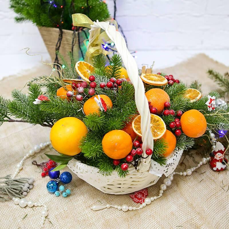 Корзина с фруктами на новый год