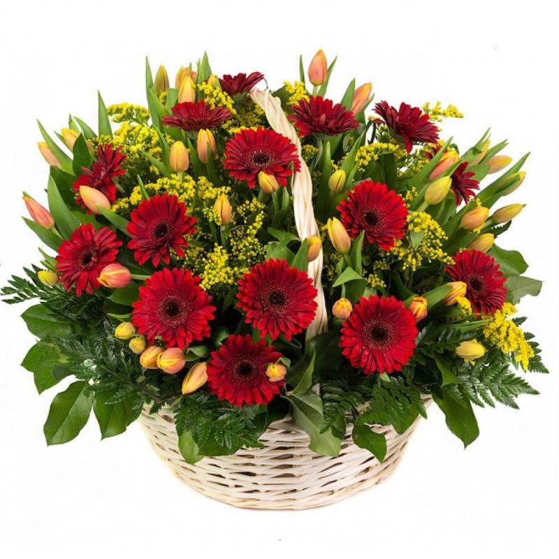 """Корзина с герберами и тюльпанами """"Арабелла"""""""