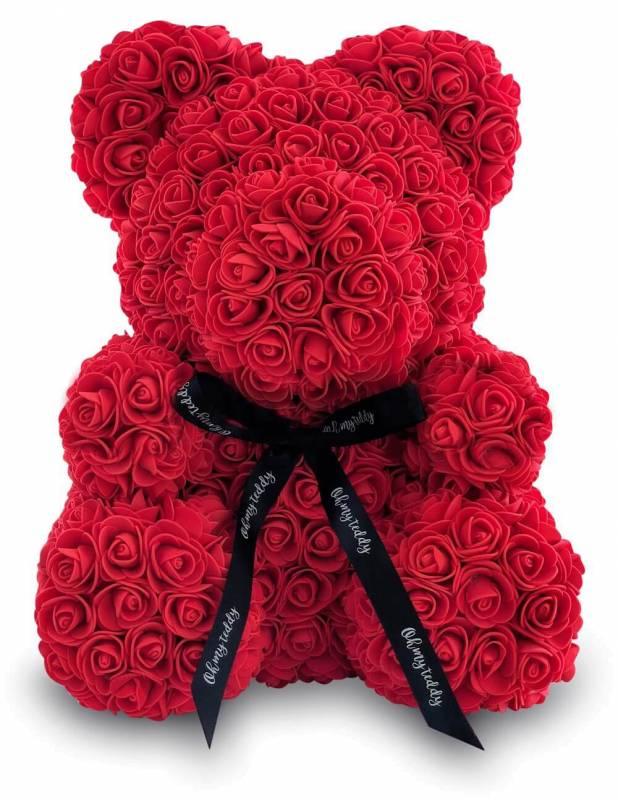 Красный мишка из роз 40 см.
