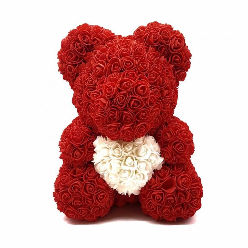 Красный мишка из роз с сердцем 40 см.
