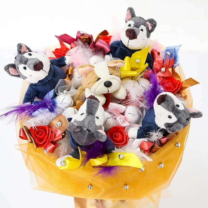 """Букет из игрушек """"Собачки"""""""