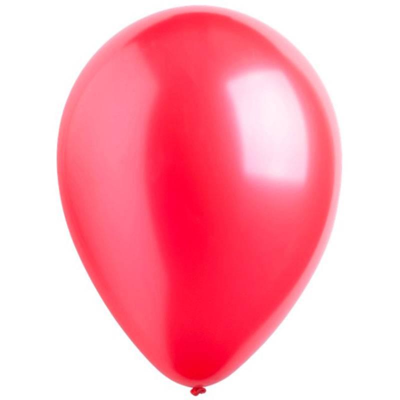 Латексный шар с гелием. Красный металлик