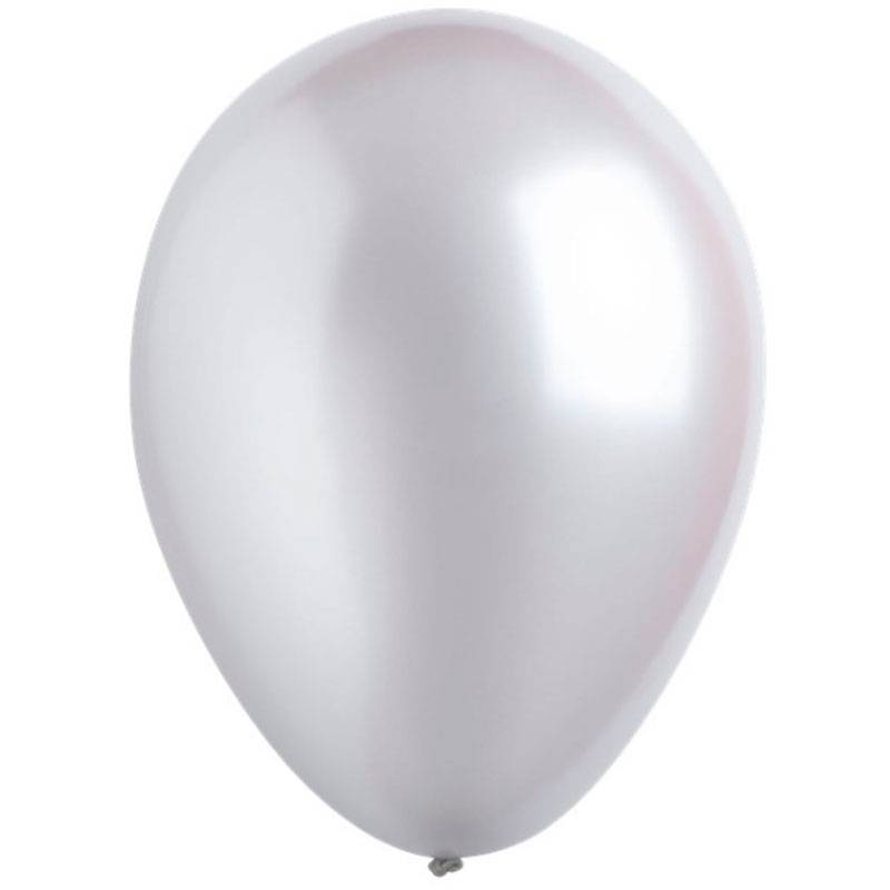 Латексный шар с гелием. Серебряный металлик