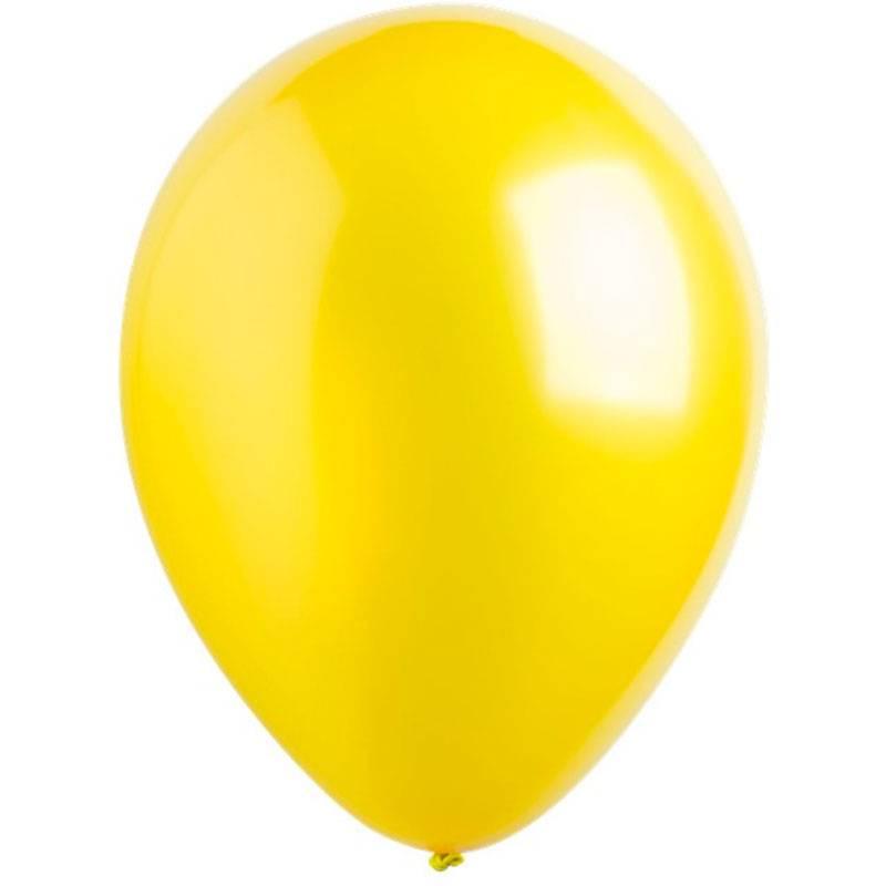 Латексный шар с гелием. Желтый металлик