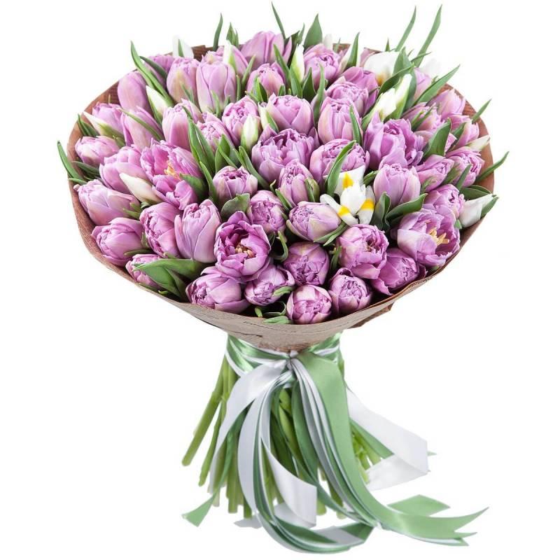 Букет из лиловых пионовидных тюльпанов