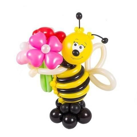 "Фигура из шаров ""Пчелка с 3 ромашками"""