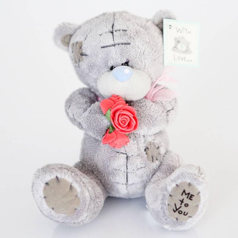 Мини мишка Тедди с букетом