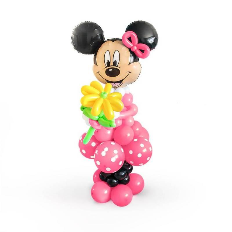 Фигура из шаров Минни Маус в розовом платье.