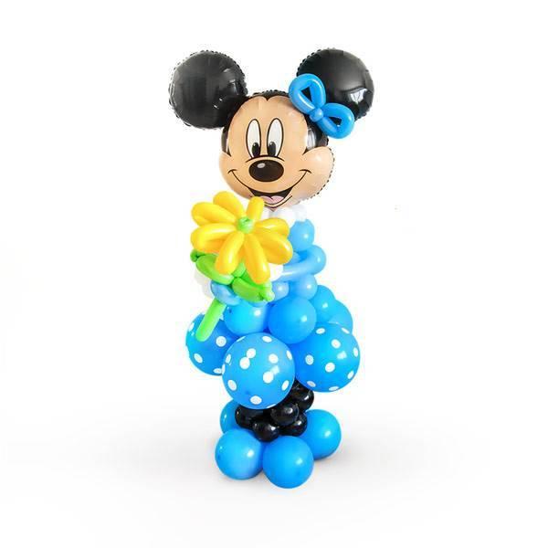 Фигура из шаров Минни Маус в синем платье.