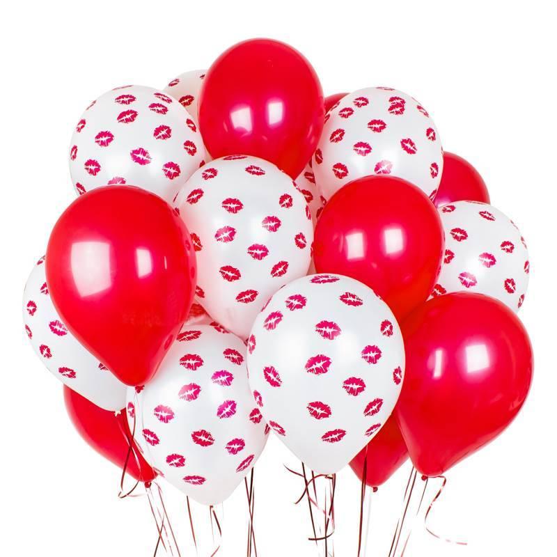 """Воздушные шары красно белые """" Море поцелуев"""""""