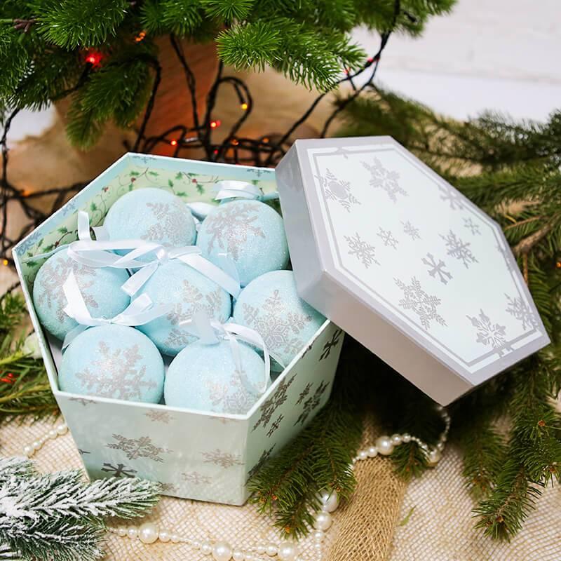 """Набор из 14 ёлочных шаров """"Голубые снежинки"""""""