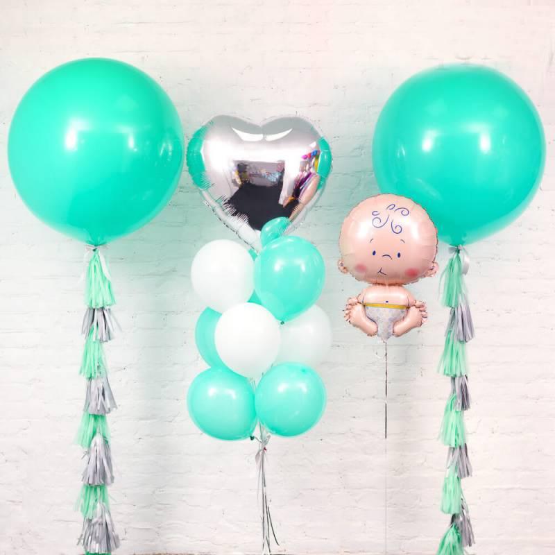 Набор шаров для оформления воздушными шариками на выписку из роддома