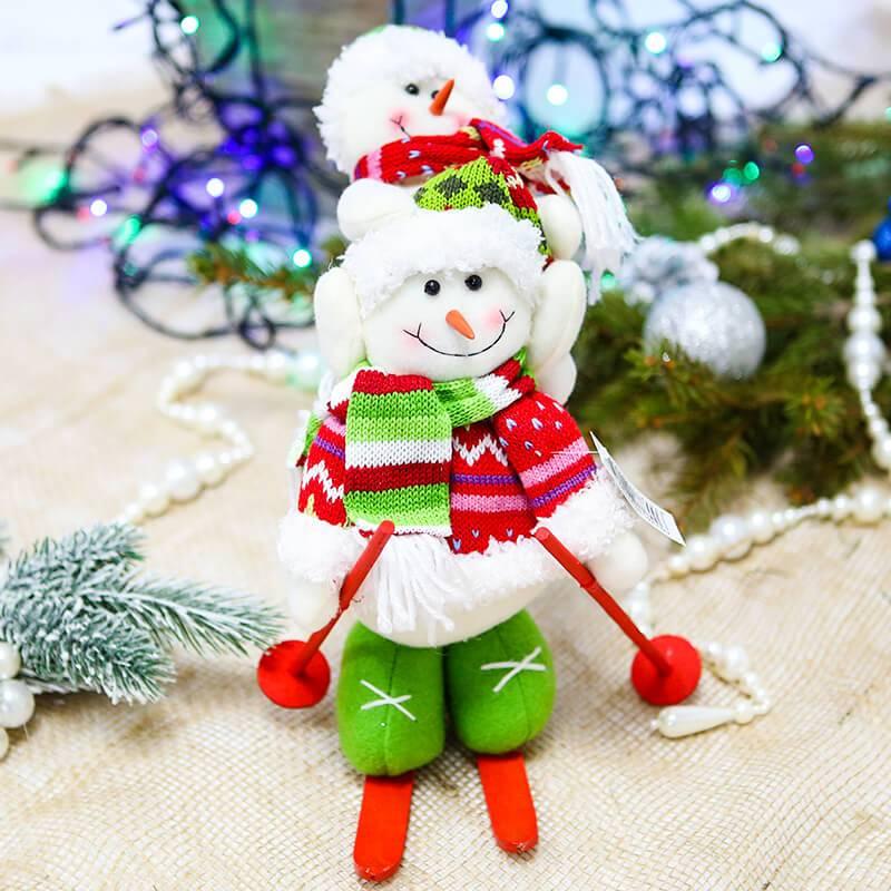 """Новогоднее украшение """"Снеговик на лыжах"""""""