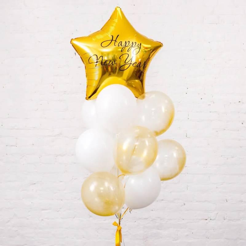 Новогодняя композиция из шариков с гелием