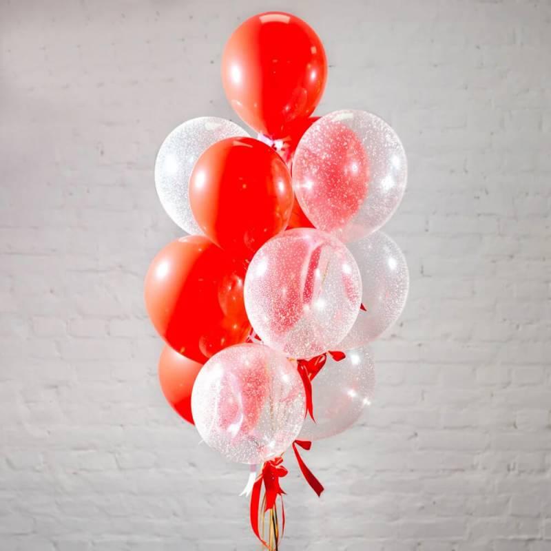 Новогодняя связка из 13 гелиевых шаров с декором