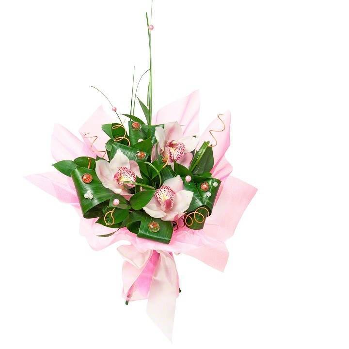 """Букет с орхидеями """"Перламутровые пуговички"""""""