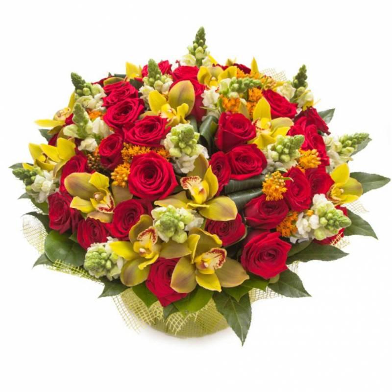 """Букет с розами и орхидеей """" Изящное признание"""""""