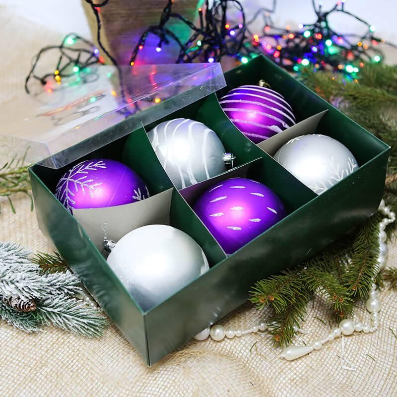 Набор ёлочных шаров в коробке