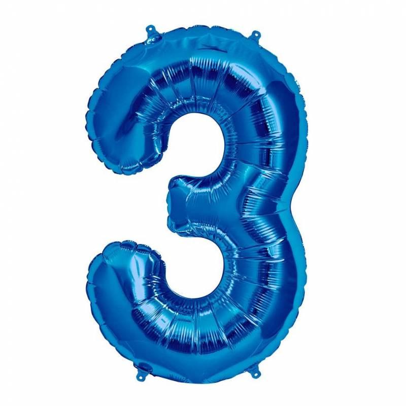 Шар из фольги «Цифра  3 (синяя)»