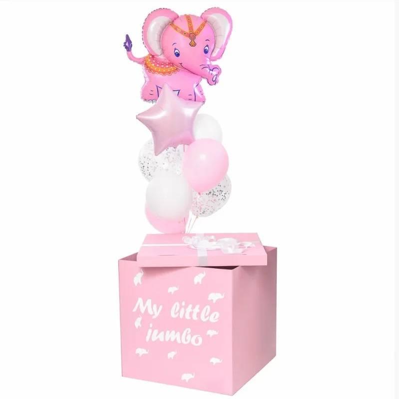 Розовая коробка с шарами на день Рождения девочке