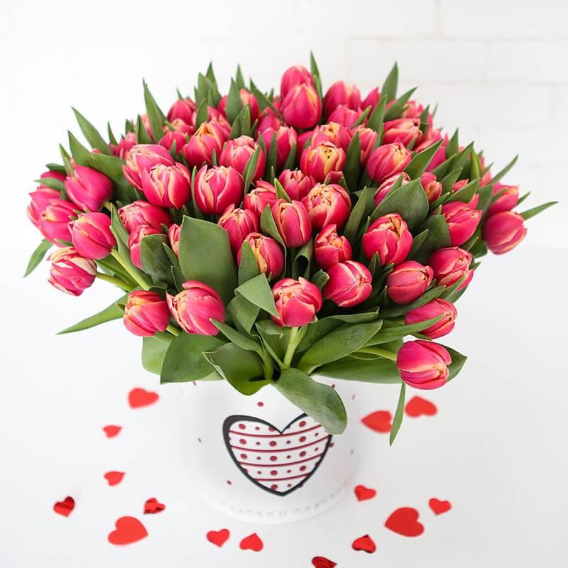 Розовые  пионовидные тюльпаны