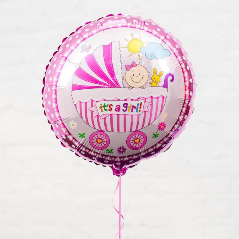 """Розовый фольгированный шар с ребенком в коляске """"It's a Girl"""""""