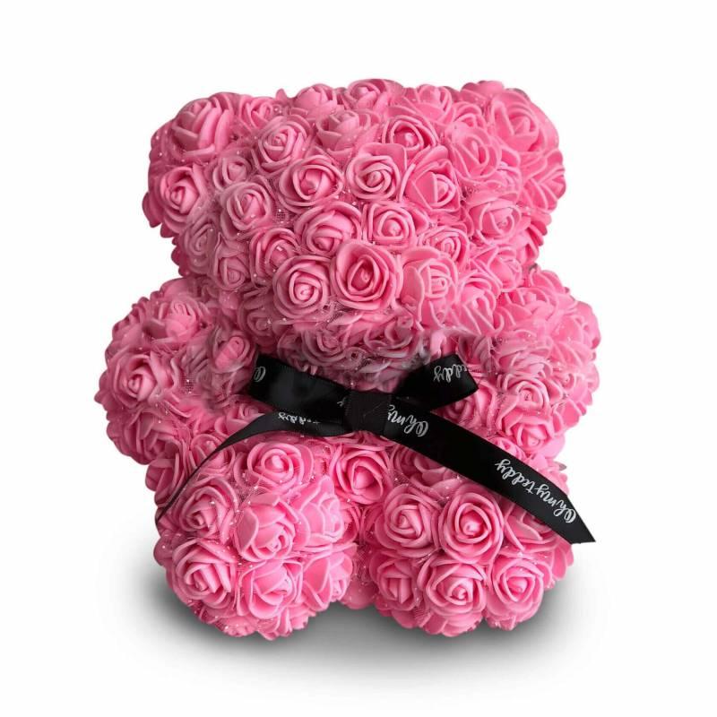Розовый мишка из роз 20 см.