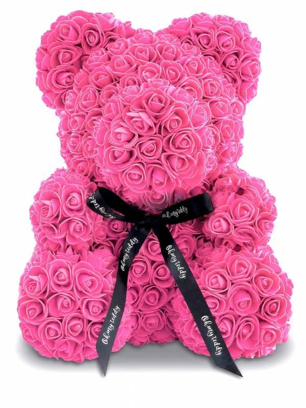 Розовый мишка из роз 40 см.
