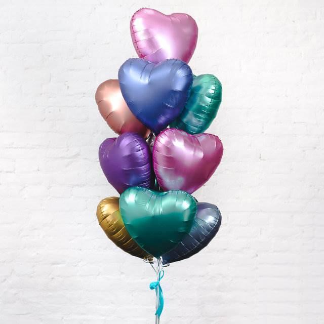 """Набор фольгированных шаров в форме сердца """"Сатин"""""""