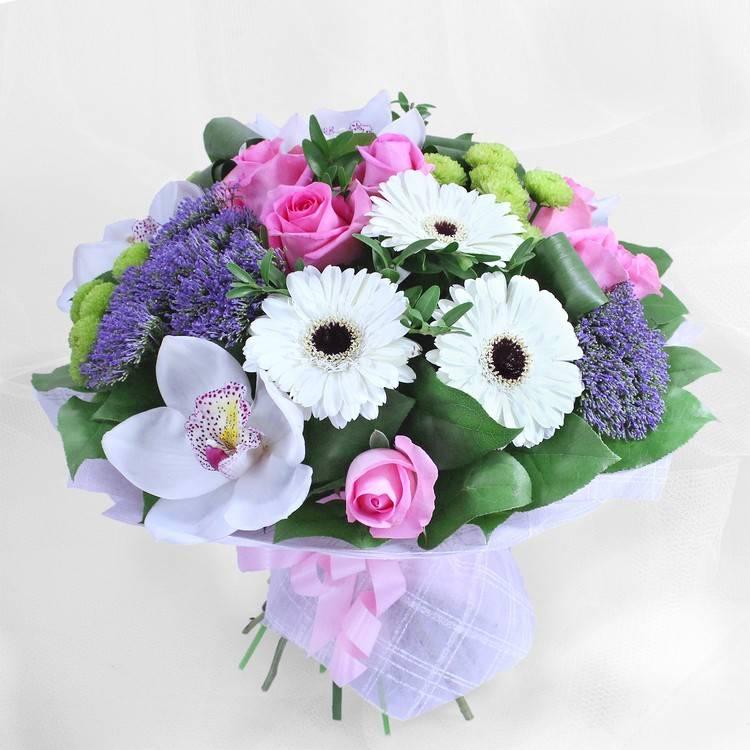 """Букет с орхидеями и герберами """"Северное сияние"""""""